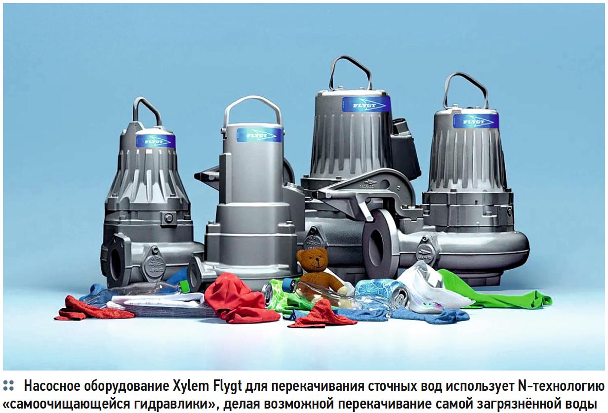 Насосное оборудование Xylem Flygt для перекачивания сточных вод использует N-технологию «самоочищающейся гидравлики», делая возможной перекачивание самой загрязнённой воды