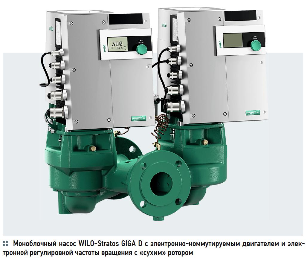 Моноблочный насос WILO-Stratos GIGA D с электронно-коммутируемым двигателем и электронной регулировкой частоты вращения с «сухим» ротором