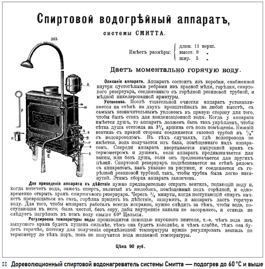 Дореволюционный спиртовой водонагреватель системы Смитта — подогрев до 60 °C и выше