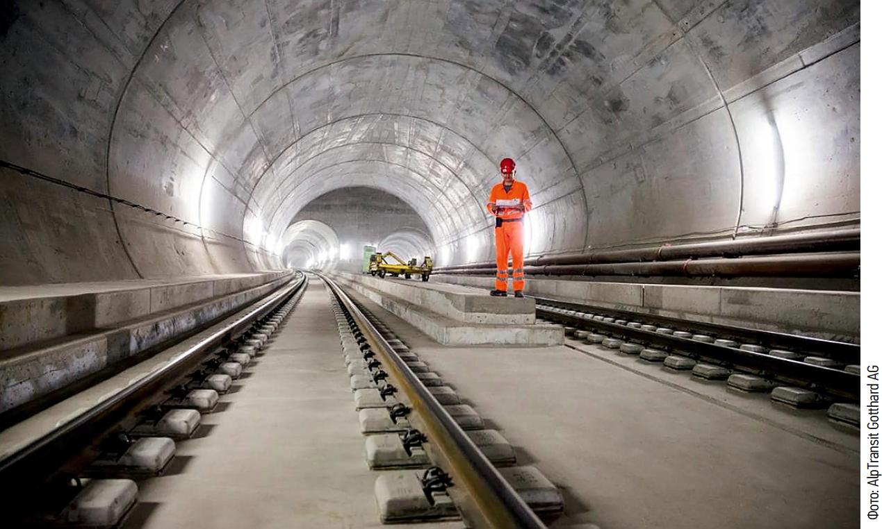 Тоннель Готарда пролегает под Готардской горной грядой в Швейцарии
