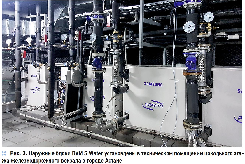 Наружные блоки DVM S Water установлены в техническом помещении цокольного этажа железнодорожного вокзала в городе Астане