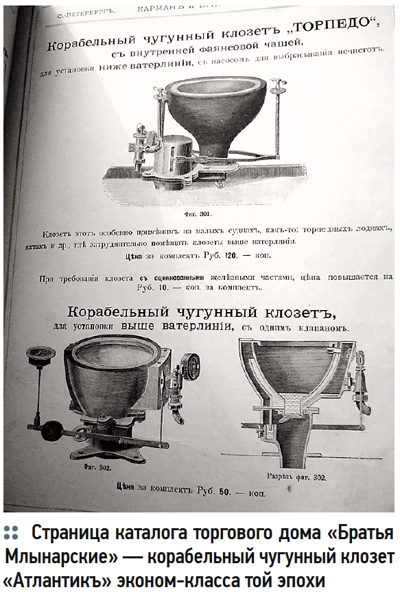 Страница каталога торгового дома «Братья Млынарские» — корабельный чугунный клозет «Атлантикъ» эконом-класса той эпохи