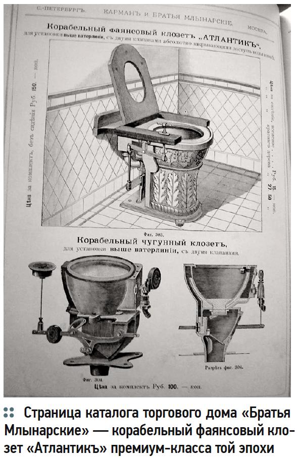 Страница каталога торгового дома «Братья Млынарские» — корабельный фаянсовый клозет «Атлантикъ» премиум-класса той эпохи