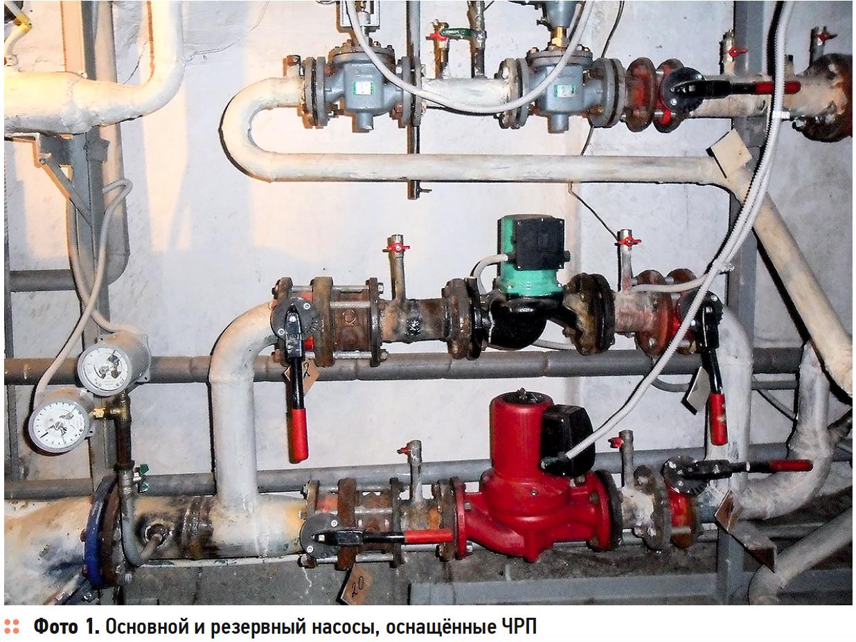 Основной и резервный насосы, оснащённые ЧРП