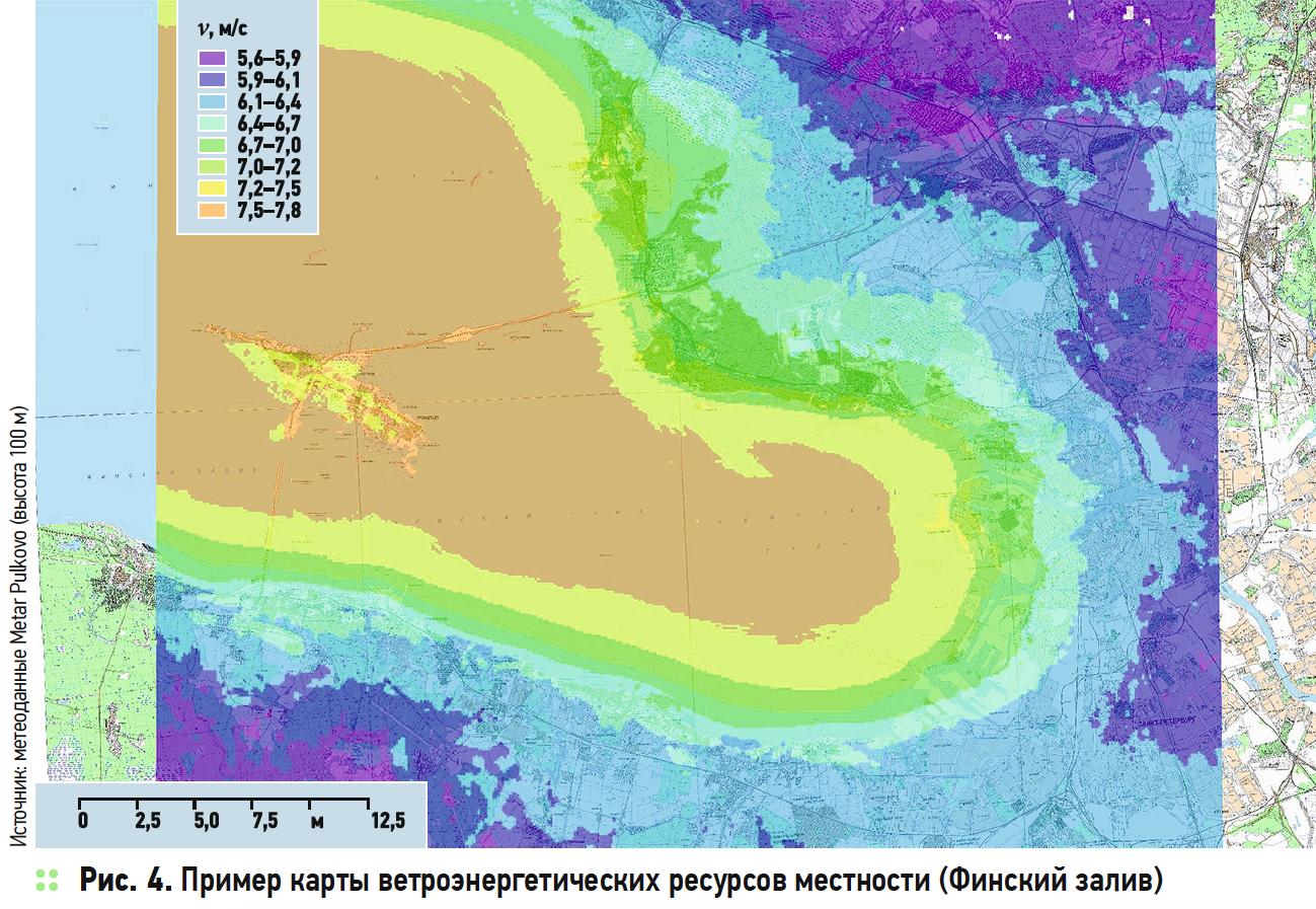 Пример карты ветроэнергетических ресурсов местности (Финский залив)