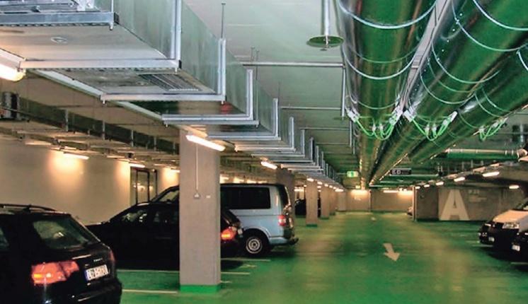 Фото 1. Канальная (традиционная) система вентиляции парковки