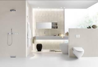 Унитаз с гигиеническим душем от компании Geberit мягко очищает теплой водой.