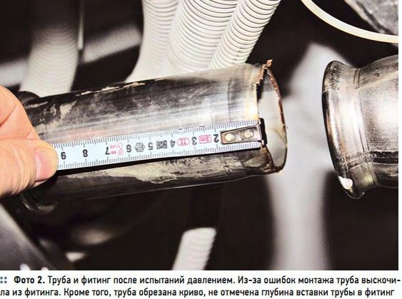Фото 2. Труба и фитинг после испытаний давлением. Из-за ошибок монтажа труба выскочила из фитинга. Кроме того, труба обрезана криво, не отмечена глубина вставки трубы в фитинг