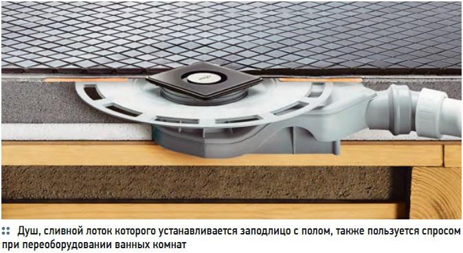 Душ, сливной лоток которого устанавливается заподлицо с полом, также пользуется спросом  при переоборудовании ванных комнат