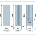 Рис. 1. Габаритные размеры панелей со схемами укладки трубы