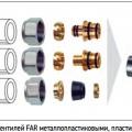 Рис. 1. Присоединение вентилей FAR металлопластиковыми, пластиковыми и медными трубами
