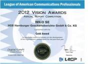 Компания WILO SE удостоилась премии 2012 Vision Award: Золотой годовой отчет 2012